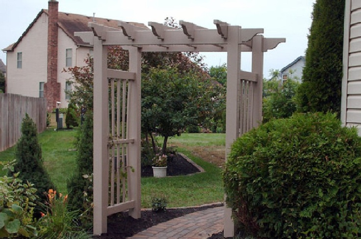 Low-maintenance vinyl arbor ~ a lovely entry to this customer's walk way! Also available in white.