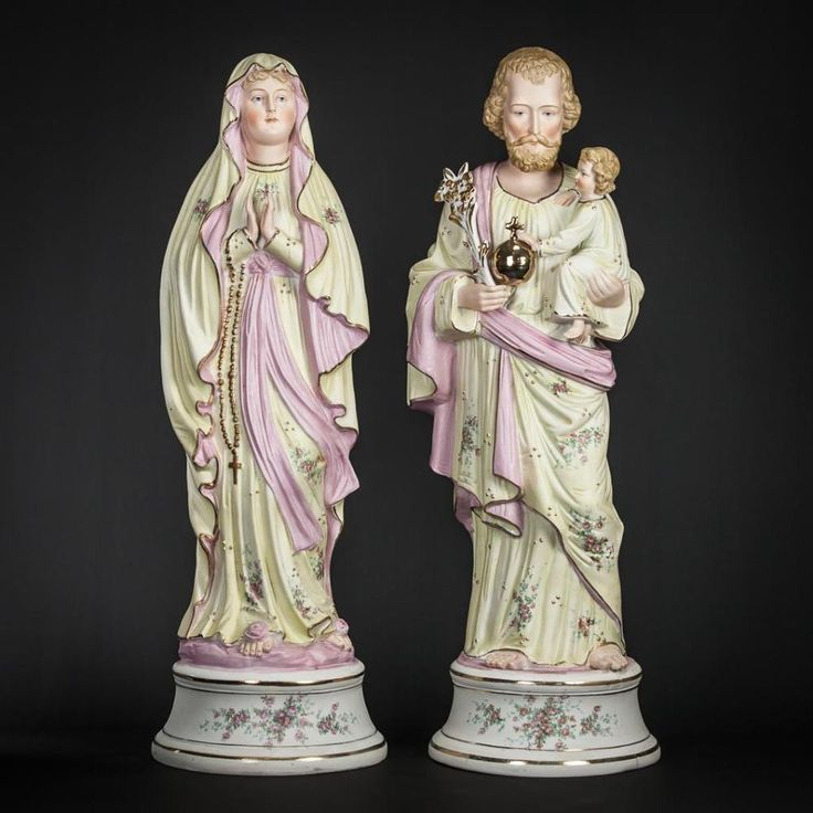 "18"" Antique Pair of Virgin Mary St Joseph with Child Bisque Porcelain Statues 2  
