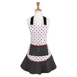 Black & Red Polka Dot Ruffle Cooking Apron