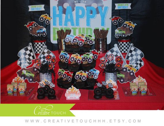 Monster Truck Birthday Party, Monster Jam Birthday Party, Monster Truck Party, Monster Jam Party, Monster Truck Cupcake Toppers, Monster Jam Cupcake Toppers, Cars, Cake, Decoration, Racing, Mudding, Off Roading by CreativeTouchhh