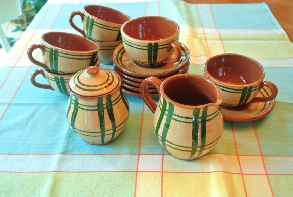 Green and Brown Plaid Pottery Cups and Saucers by RiversideMills