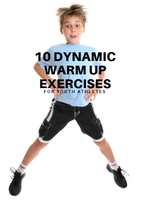 These 10 simple exercises work as a dynamic warm up for kids of any age or sport. Do each exercise for 20 to 30 seconds. Repeat as necessary. 10 Dynamic Warm Up Exercises for Youth Athletes http://www.activekids.com/soccer/articles/10-dynamic-warm-up-exercises-for-youth-athletes?cmp=17N-DP20-BND20-SD80-DM10-T9-04262017-424