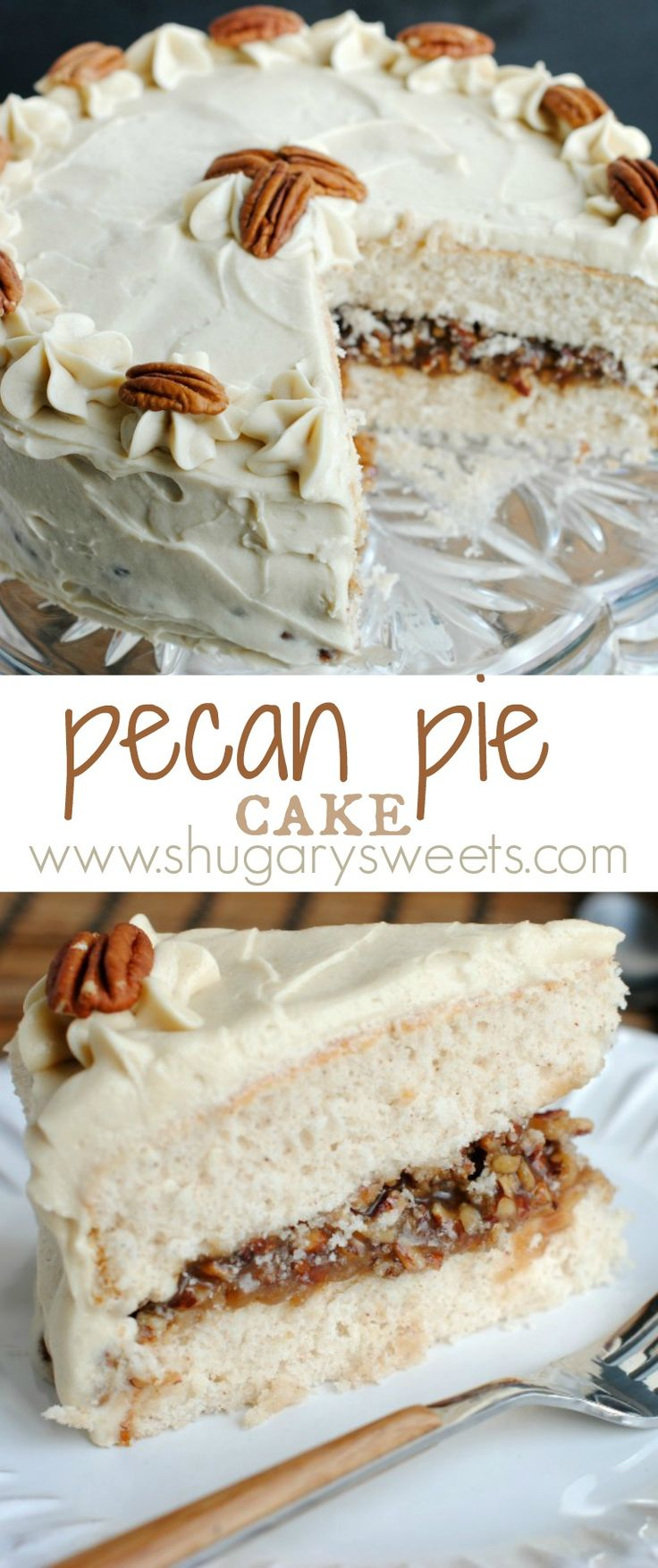 Pecan Pie Cake: double layer spice cake, from scratch, with a pecan pie filling and brown sugar frosting! This is a must have dessert!!!