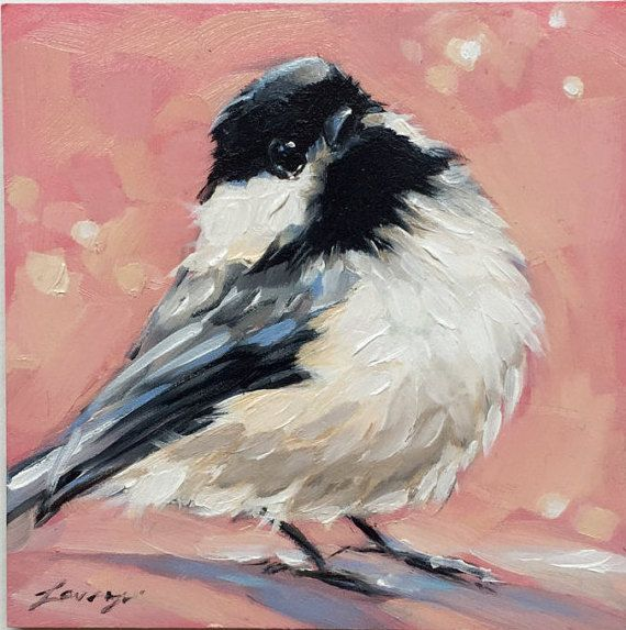 Chickadee painting 4x4 Original impressionistic oil by LaveryART