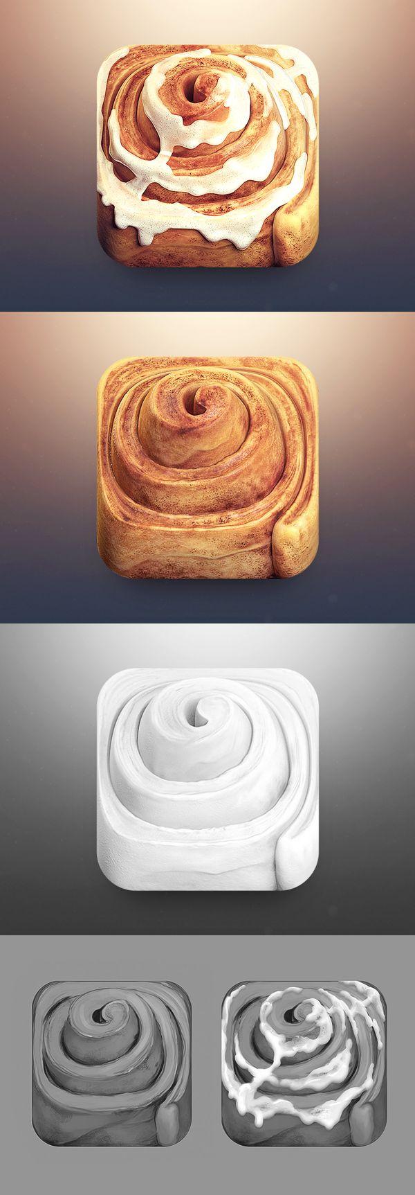 Cinnamon Roll App Icon by CreativeDash , via Behance