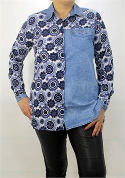 Mavi Çiçek Desenli Taş Detaylı Gömlek