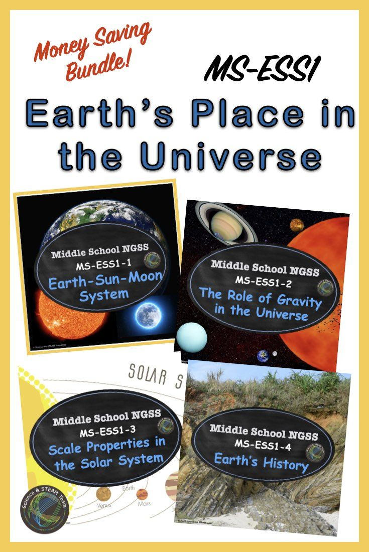 Middle School Ngss Earth S Place In The Universe Bundle In 2020 Middle School Science Resources Middle School Science Teacher Science Lessons