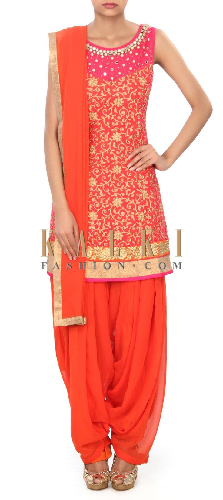 Buy Online from the link below. We ship worldwide (Free Shipping over US$100) Price- $159 Click Anywhere to Tag http://www.kalkifashion.com/pink-patiala-suit-enhanced-in-mirror-and-aari-work-only-on-kalki.html