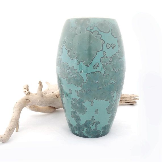 Green Ceramic Crystal Glazed Vase on a Turquoise by SunbirdPottery