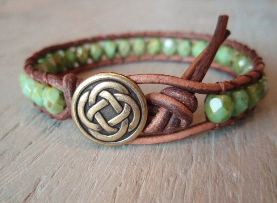 Beaded leather wrap bracelet - Celtic Pride- brown leather & czech glass single wrap bracelet green turquoise, Scottish, celtic knot jewelry
