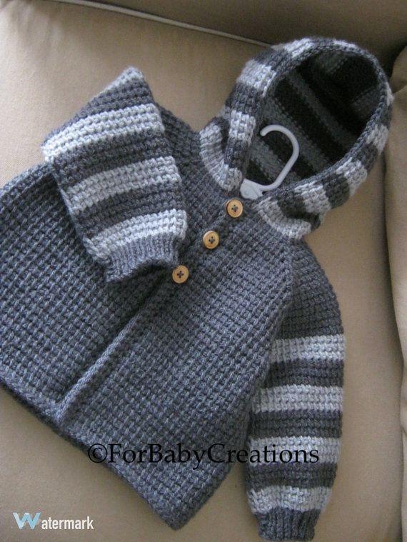 El muchacho del bebé del ganchillo o el suéter con capucha - gris oscuro y gris claro - MADE TO ORDER - ganchillo tunecino - hecho a mano