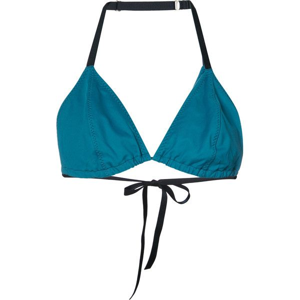 Malia Mills triangle bikini top ($165) ❤ liked on Polyvore featuring swimwear, bikinis, bikini tops, green, triangle swimsuit top, malia mills swimwear, swim suit tops, malia mills and green swimwear