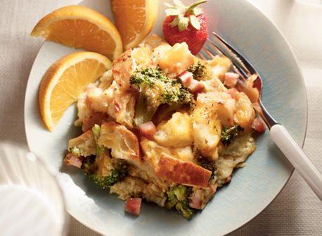Strata au brocoli, au jambon et au Cheddar recette   Plaisirs laitiers