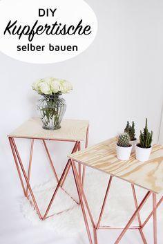 DIY Beistelltische aus Kupfer selber bauen. Auf meinem DIY Blog findet ihr die komplette Bau-Anleitung für die Kupfertische!