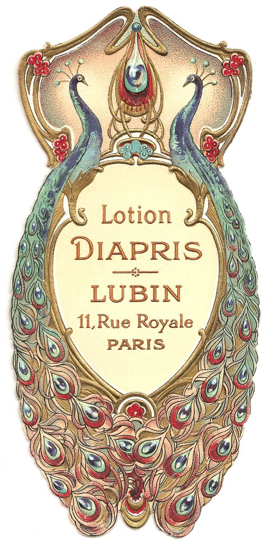Vintage Paper Pixels: Vintage French Peacock Label