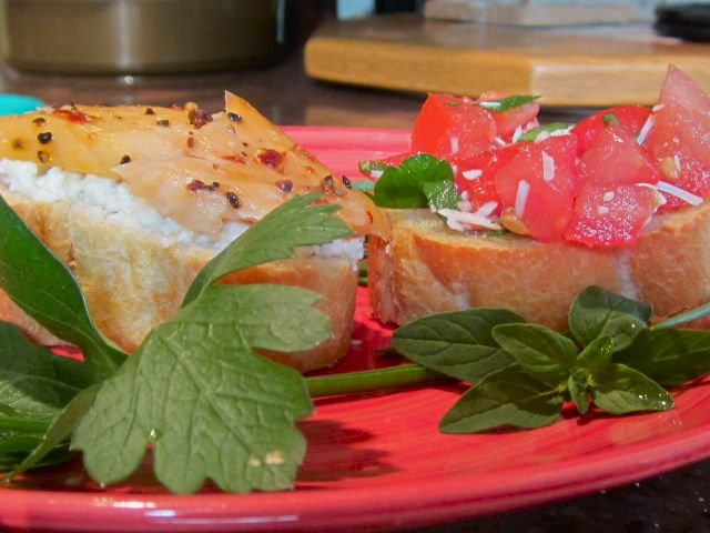 MA in the Kitchen: Two Open-Faces: Smoked Salmon with Feta & Bruschetta
