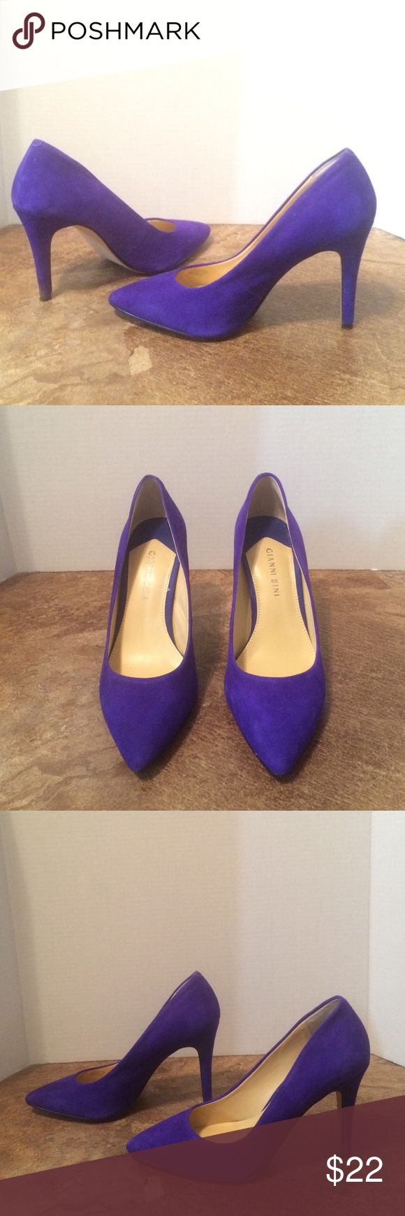 Blue suede pumps These are a pair of rolling blue suede pumps. They have a very vibrant color with a sophisticated pointy toe. 3 inch heel w/ no platform Gianni Bini Shoes Heels
