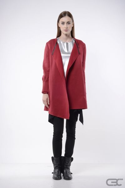 http://cbcdesign.ro/en/shop/jachet-red-melting-point/  Warm and soft jacket  with asymmetric hemline. The raw finish sustains the casual sport direction, but the accessories and the styling can create a totally different story