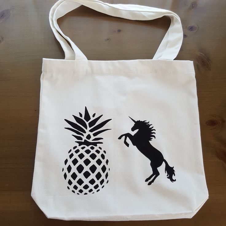 Tote bag - Unicorn and Pineapple - hand painted by Grafeeq on Etsy