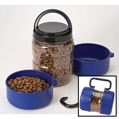 (Blue) TRAVEL-tainer™ Food and Water Container - Pet Supplies, Pet Supply, Pet Dog, Dog Supplies, Pet Products, cat supplies, fish supplies, dog fo...