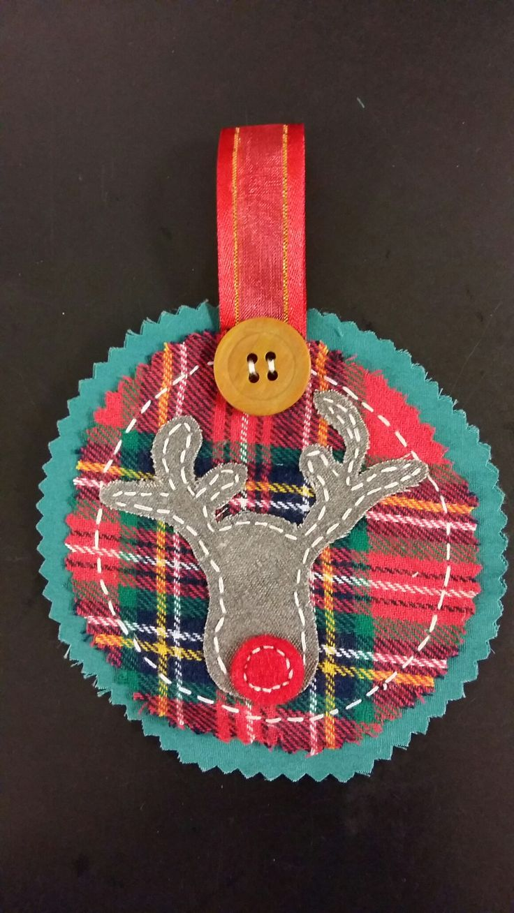 Recycled fabric Christmas deer decoration