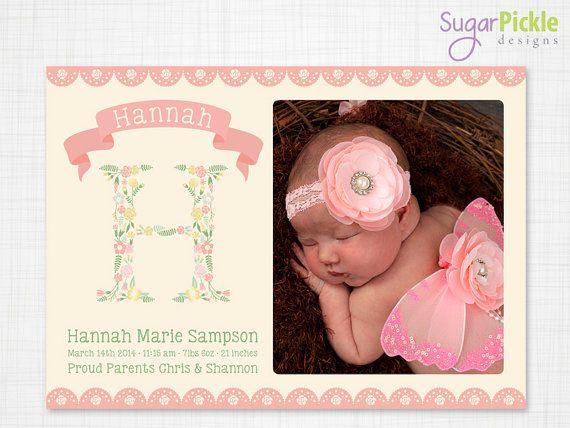Birth Announcement Shabby Chic birth by SugarPickleDesigns on Etsy