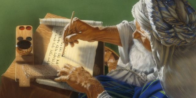 Moses writing Bible text