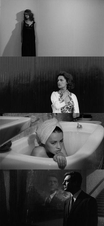"""Cenas do filme """"A Noite"""" (título original: La Notte - 1961) do cineasta italiano Michelangelo Antonioni, com Marcello Mastroianni, Jeanne Moreau Monica Vitti."""