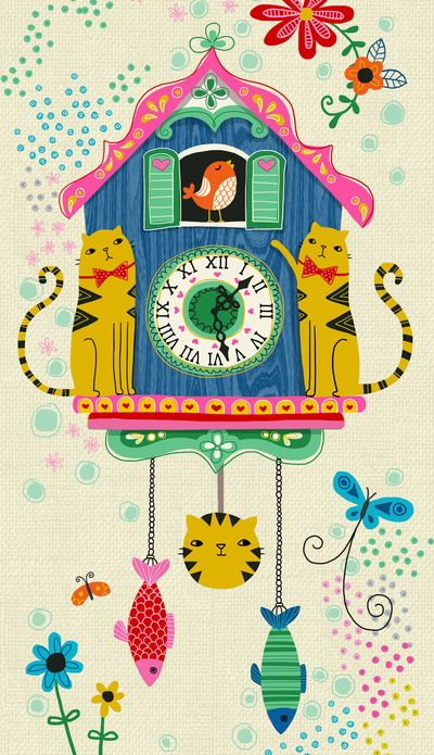 Cuckoo Clock Cats Art Print by 'Anne Was Here' ♥≻★≺♥