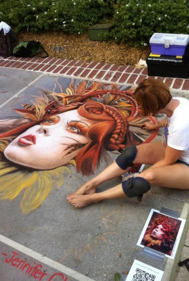 ✯ Urban Art Series .. Pastel on Sidewalk✯
