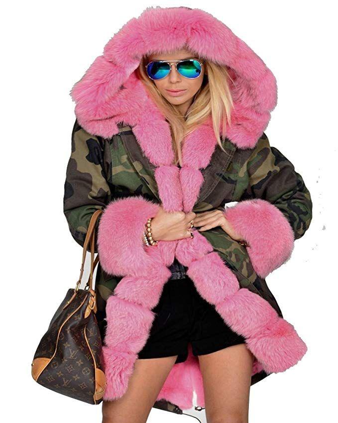 ae2b18c3a18 Roiii Women Thicken Warm Winter Coat Hood Parka Overcoat Long Jacket Outwear  at Amazon Women s Clothing store