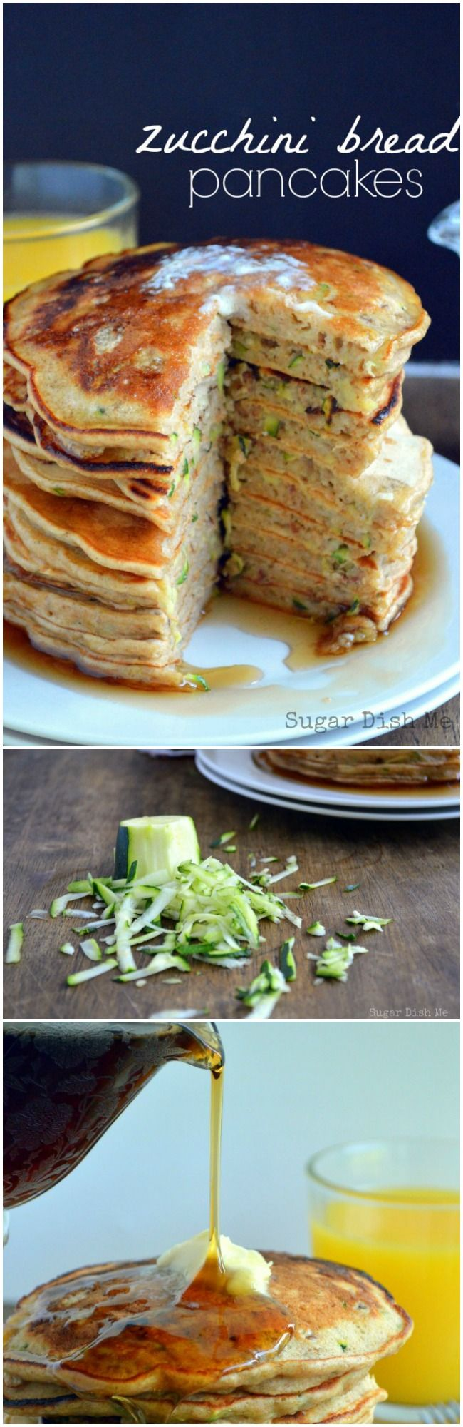 Zucchini Bread Pancakes Recipe - Fluffy buttermilk pancakes loaded with fresh shredded zucchini! Zucchini Bread Pancakes are a perfect summer breakfast and a great way to use up some of those garden veggies!