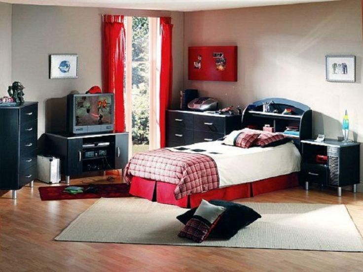 The Beautyful Interior Design In Boys Bedroom Idea With Smart Arrangement  Decoration Cool Black And Red