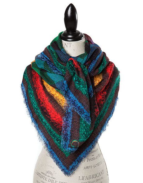 Canadiana Print Rockies - To celebrate Canada's 150th birthday,  designer Cindy Goble added handcrafted Large Square Wool Scarves to her 2017 Canadiana Collection. These bright lightweight scarves are the finishing piece to complement any outfit.