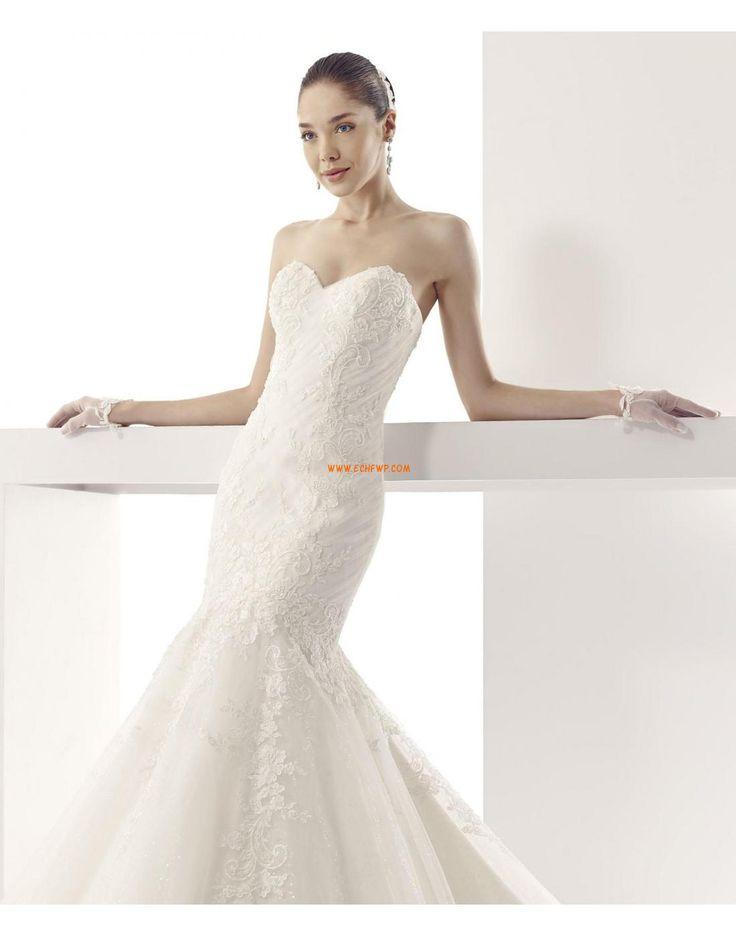 Traîne mi-longue Sans manches Plongeant Robes de mariée 2015