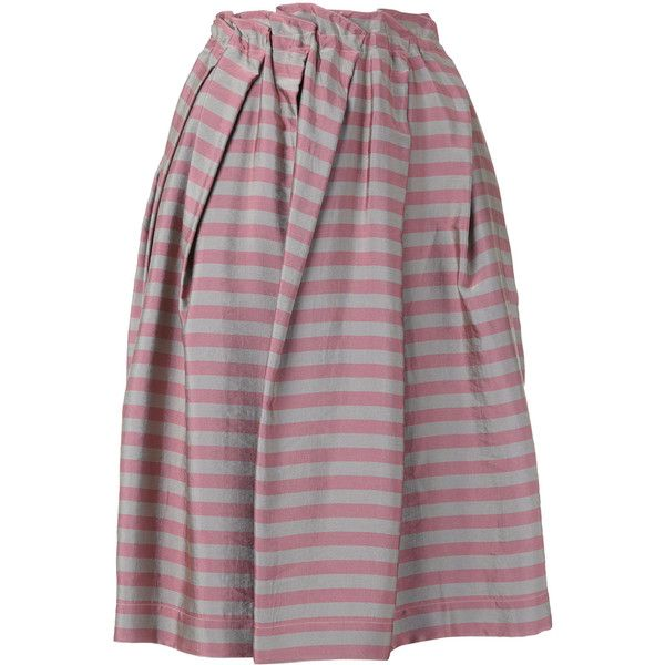 Jil Sander Navy striped pleated skirt (660 AUD) ❤ liked on Polyvore featuring skirts, grey, gray skirt, knee length pleated skirt, pleated skirt, grey pleated skirt and striped skirts