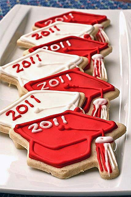 High School Graduation Party Recipes | Graduation Cap Sugar Cookies Several Links for Recipes, Cookie ...