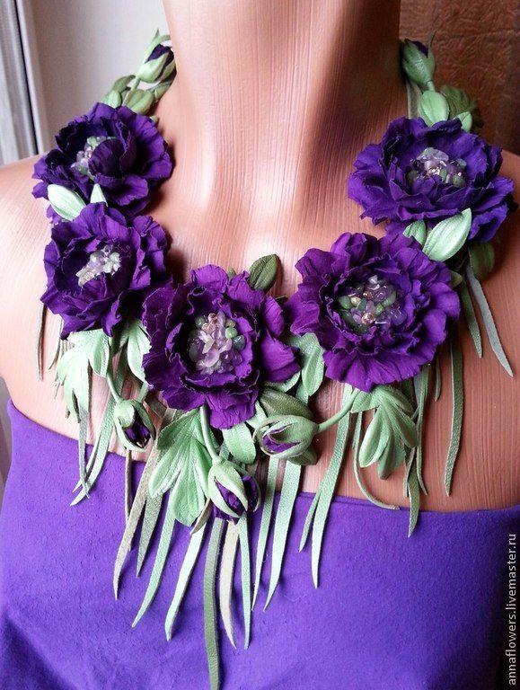"""Колье из кожи и замши """"Violet"""". Handmade."""