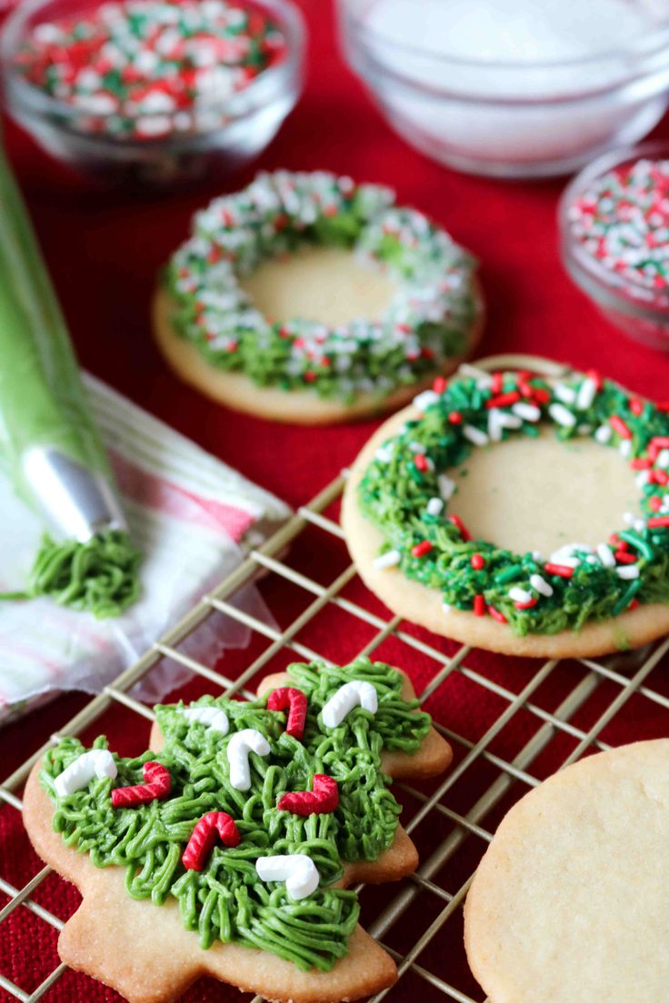 A recipe for the best, iced Christmas cookies, featuring homemade sugar cookies and an easy buttercream icing.