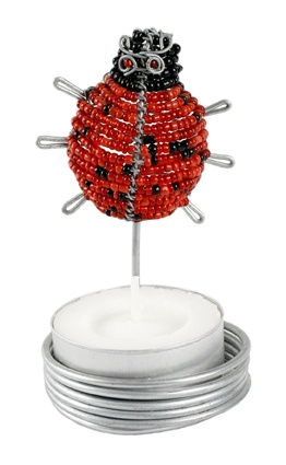 Ladybird tealight holder, $12 with free delivery in Australia, handcrafted and Fair Trade, from www.wiredandwonderful.com.au