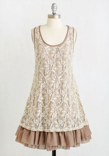 Gorgeous in the Glade Dress. Sneak away to your favorite secluded clearing for a day of reading and relaxation in this lovely lace frock! #tan #modcloth