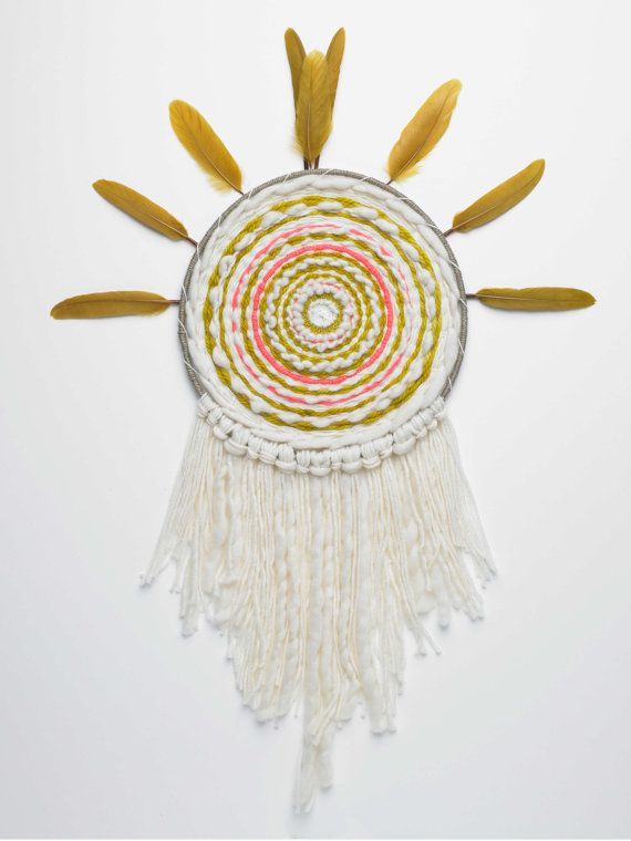 Totem - Tissage contemporain - Tissage circulaire - Tissage rond - Tenture murale - Circle woven wall hanging - Tapestry weaving Fiber Art