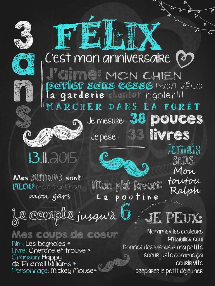 Affiche personnalisée anniversaire 2 à 5 ans Gentlemen moustachu | 28,00$ #chalkboard #lacraieco #moustache