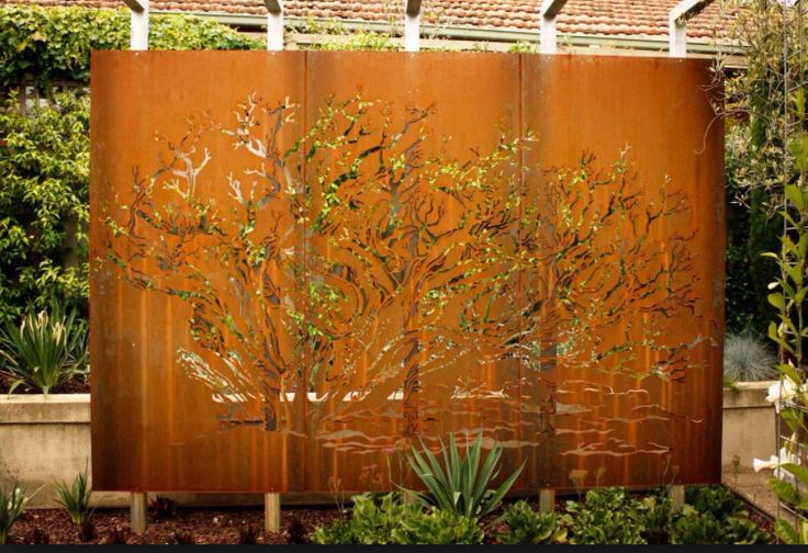 Screen for studio - by neighbour's request - rusted and tree/branch design