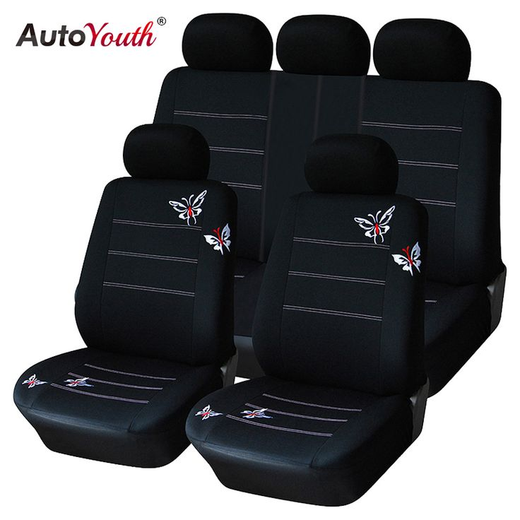 AUTOYOUTH Butterfly Embroidery Car Seat Cover (Full Set) Universal Fit Most Car Covers Interior Accessories Black Seat Covers