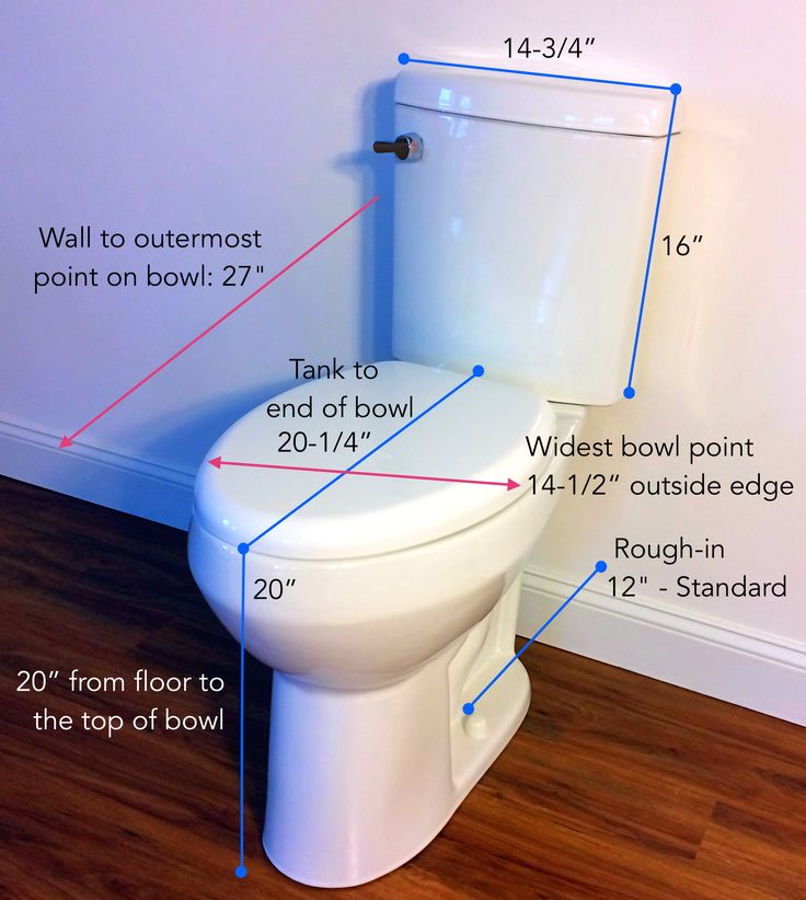 Convenient Height Toilet - Tall 20-inch bowl with space saving dimension. With just 27 inches in front-to-back length, it is smaller and compact than most comfort height toilets. Perfect for tall people with small bathrooms.  Click visit for a full review of this extra height toilet.