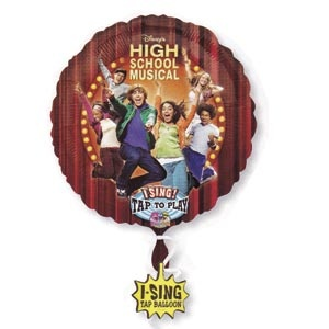 """High School Musical Singing Balloon. Measures 28 inches.   Fill with Helium and tap the balloon to hear """"We're All In This Together"""". Guaranteed 50 plays."""