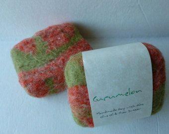Felted Soap, jabón hecho a mano - Cucumelon de fieltro