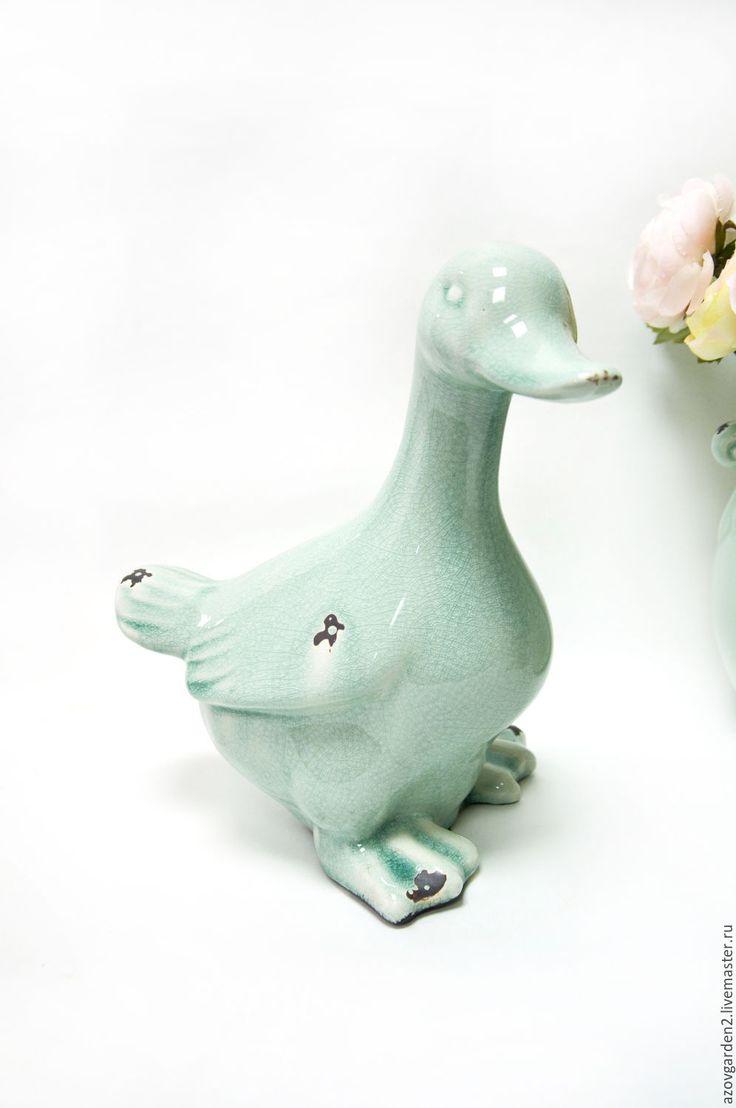 Купить Статуэтка Утка светло-зеленая, керамика, Винтаж, Прованс - мятный, светло-зеленый
