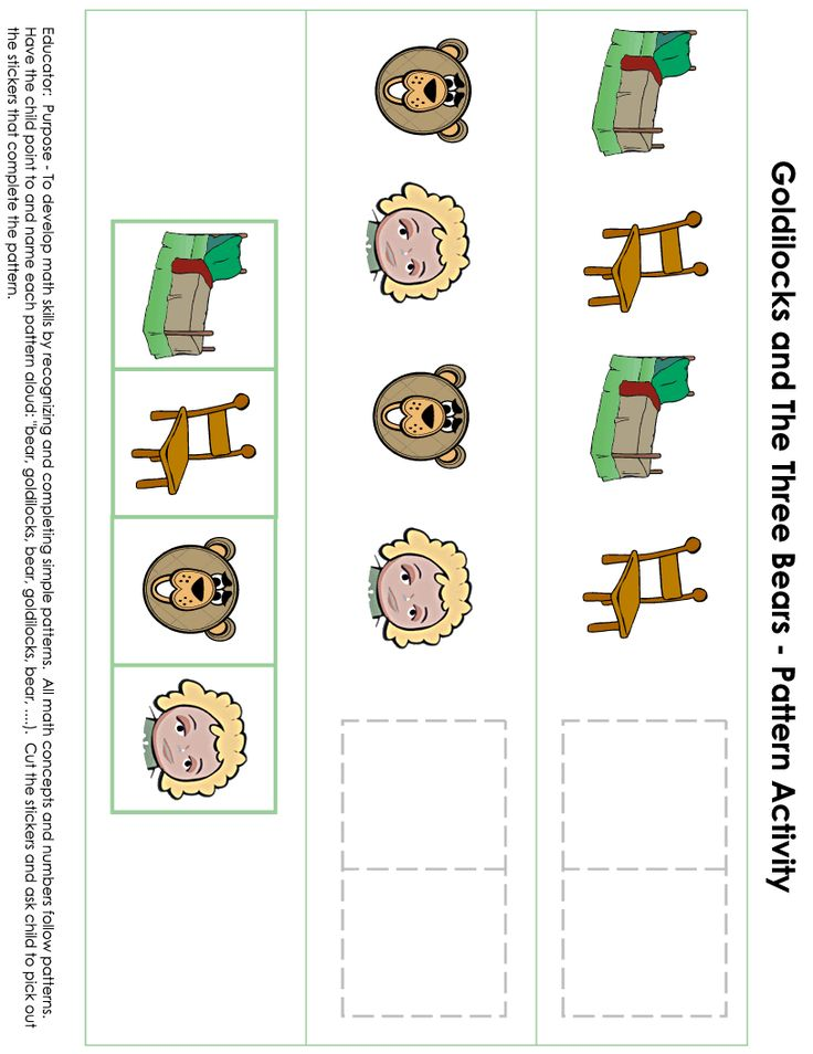 Goldie Locks and the Three Bears math pattern activity for B week.